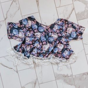Tops - Floral Crop Top Lace Floral Crop Tee Relaxed Fit